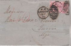 1875 QV LONDON WRAPPER WITH FINE PAIR OF 3d ROSE STAMPS PLATE 15 USED IN ITALY  | eBay