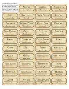 Vintage spice jar labels. Free printable label templates.