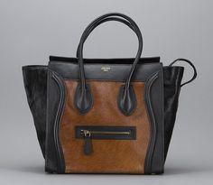 Celine Brown & Black Ponyhair Luggage Tote Bag