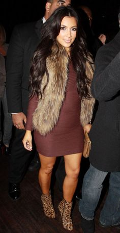 Long sleeve dress with fur vest bday outfit??