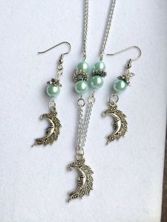 Silver Moon Necklace and Earring Set Glass by RedSilentWolfJewelry