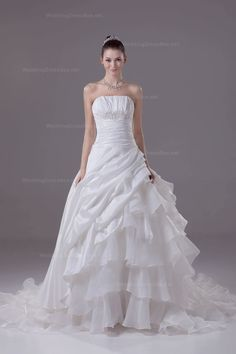 Glamoulous Fully Pleats And Ruffle Taffeta Over Organza Wedding Dress