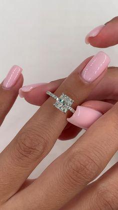 Wedding Ring Cushion, Cushion Cut Diamond Ring, Cushion Cut Diamonds, Pave Diamond Rings, Princess Diamond Rings, 1 Carat Diamond Ring, Solitaire Ring, 1 Carat Engagement Rings, Cute Engagement Rings