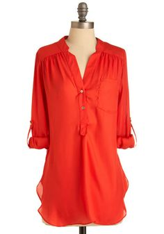 Love this tunic top. Also have in blue, green yellow and torquoise Pam Breeze-ly Tunic in Tomato - Red, Solid, Buttons, Pockets, Long Sleeve, 3/4 Sleeve, Long, Casual, Sheer, Best Seller, Button Down, V Neck, Variation, Beach/Resort