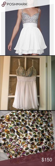 La Femme Dress White, beaded La Femme dress. Like new, worn once for just a couple of hours. No signs of wear. Only alteration is to make the skirt all one length. Size 2. Originally $350 La Femme Dresses Prom