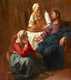 Christ in the House of Martha and Mary  by Johannes Vermeer 1654-56 at the National Gallery of Scotland