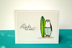 A great card for a guy. It can be a thank you card, congratulations card, or a birthday card.  The penguin and sentiment are stamped with black ink on heavy white cardstock. The penguin panel has a stitched element around the edge. It is then attached to a white cardstock base. The inside is blank, so there is plenty of room for your own personal message.  Please feel free to email me if you have any questions.  Thanks for looking