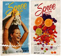 I remember the old Spree candy packages. They had photos of couples skiing and people surfing. We used to go to the corner at Bob's Store and buy these.