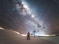 """It's actually in New Zealand that people can see the clearest skies at night, so one day I decided to drive up to Cardrona Alpine Resort, 30 minutes away from Wanaka. I explored the slopes by foot, observing the stars with the resort's chair lifts as a background—an extreme and memorable moment for sure."" — @lebackpacker"