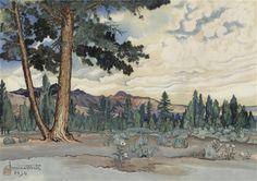 Morning at Mono Lake, Obata Chiura, 1930.  Japanese, 1885-1935.  Cozyhuarique