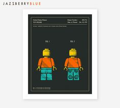Reproduction of the 1979 Patent document for a lego person (dark version) Unframed, printed on your choice of paper: ►GICLÉE FINE ART PRINT: Made with gallery quality, textured, 240gsm Cotton Rag paper and archival Epson inks. Sizes include a LARGE WHITE BORDER, SEE DIAGRAM FOR BORDER