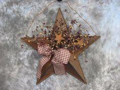 "16"" Burgandy Mustard Rusty Tin Star Berry Rusty Tin Star Wall Pocket Primitive Country Wall Decor"