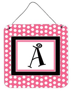 Letter A Initial - Pink Black Polka Dots Wall or Door Hanging Prints
