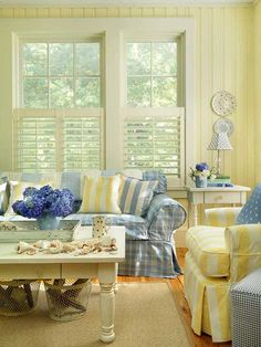Yellow and blue cottage living room. Very Cape Cod cottage.