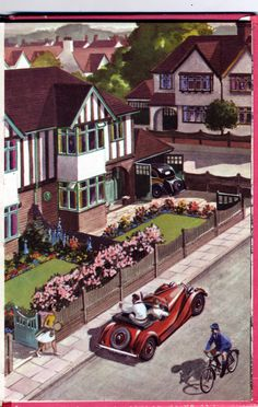 Ladybird Book illustration, 1963. Suburban dream from the 1930s; car in the garage, neat front garden, schoolboy on bike and a tennis club round the corner
