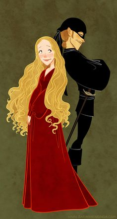 Buttercup and Westley from Princess Bride, by Sarah Mensinga
