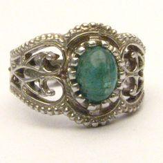 Handmade Sterling Silver Filigree Crown Emerald Ring (90.00 USD) by JandSGems