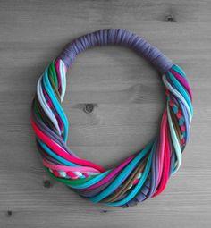 Kék/zöld/pink sál-nyaklánc pamutszálakból, Ékszer, óra, Nyaklánc, Meska
