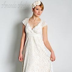 Ivory Lace Wedding Gown with Cap Sleeves, Made to Order. $675.00, via Etsy.