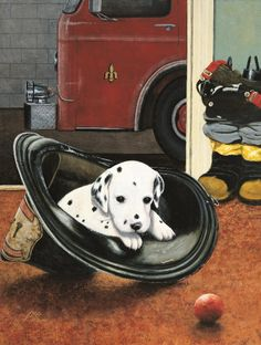 LIL SQUIRT - a print depicting a dalmation puppy resting in a fire helmet. The truck can be personalized with the Fire Department and the helmet can be personalized with a name. Firefighter Images, Fire Helmet, Fire Department, Vintage Prints, Cool Pictures, Art Pieces, Hero, Puppies, Art Prints