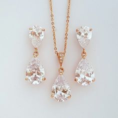Rose Gold Crystal Earrings Necklace Set Bridal by poetryjewelry