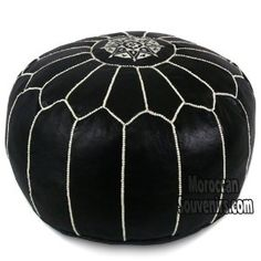 Amazon.com: Stuffed Moroccan Pouf, Pouffe, Ottoman, Poof, Color : White & Black: Everything Else