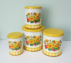 Complete Set of 4 Vintage Canisters with Nasturtiums and Yellow Gingham Design