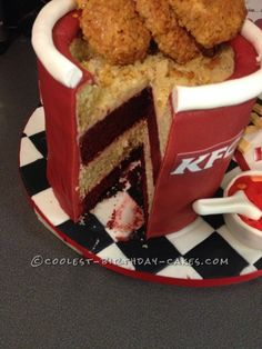 This is my KFC chicken bucket and sides cake. I made this for my husband's birthday. I did the silly thing and asked my two boys what should daddy's cake b Diy Birthday Cake, Novelty Birthday Cakes, 28th Birthday, Homemade Soup, Homemade Cakes, Kfc Takeaway, Fried Chicken Cake, Baked Chicken, Kfc Cake