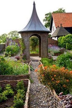 Woven gazebo in Potager garden - Brampton Willows....loooove the garden paths leading up to the wonderful gazebo!!!!