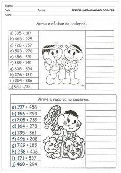 Atividades PARA IMPRIMIR de Matemática 2º ano – Adição e Subtração — SÓ ESCOLA Maze Worksheet, School Frame, France, Math Activities, Professor, Knowledge, Diagram, Bible, Comics