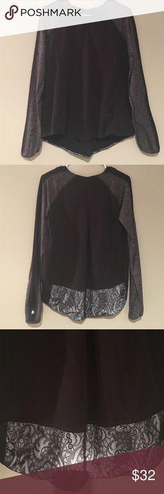 Lululemon Fleece Shirt Comfortable black fleece shirt with lace trim lululemon athletica Tops