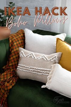 make cool boho pillows from a $3 ikea mat | Boho Pillows by popular Canada DIY blog, Fynes Designs: Pinterest image of various boho pillows on a green velvet couch.