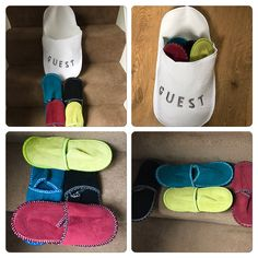 My Big Slipper for my Guests, it has 4 pairs of Washable Slippers inside the big Slipper, good for people like me that like There Guests to take there Shoes  off