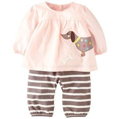 Mini Boden Applique Tunic & Pants (Baby Girls) Marshmallow/ Sausage... ($29) ❤ liked on Polyvore featuring baby, baby clothes, kids clothes, baby girl and kids