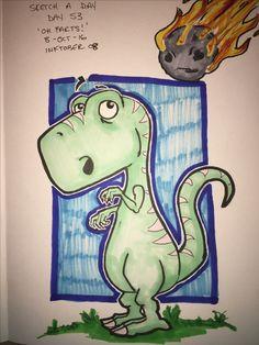 Sketch a day, day 53. 'Oh, farts!' INKTOBER 08 'rock' #INKTOBER #inktober2016 #sketch #sketchaday #art #artist #artistsoninstagram #artists #ink #copic #copicmarkers #rock #meteor #dino #dinosaur #trex #tyranosaurusrex #extinction #badday #illustration #comic Dinosaur Drawing, Cartoon Dinosaur, Cute Dinosaur, Painting Sheets, Dinosaur Tattoos, Guitar Painting, Sketch A Day, Crayon Art, T Rex