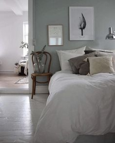 my scandinavian home: Pale green and white bedroom in the calm Danish home of Emilie Schwartzlose Scandi Bedroom, Modern Master Bedroom, Gray Bedroom, Home Bedroom, Bedroom Decor, Bedroom Ideas, Bedroom Color Schemes, Bedroom Colors, Green And White Bedroom