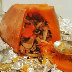 Pumpkin stuffed with meat, carrots, onions and mushrooms. .. mmm yum