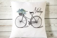 Vintage Lilac Bicycle  16 Cushion Pillow by DelightfulVintageUK