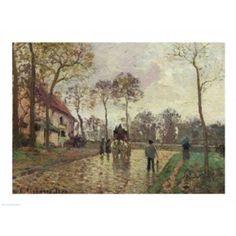 Posterazzi The Coach to Louveciennes 1870 Canvas Art - Camille Pissarro (36 x 24)