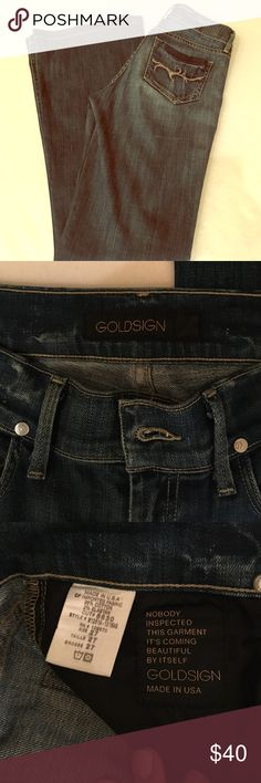 Goldsign high waist boot cut jeans Goldsign jeans, mid rise, 27/34. Boot cut style, but it's closer to a flared or bell bottom look. No fraying on cuffs. Worn twice, great condition. Other than Hudson jeans, this is the softest denim I've ever felt. Goldsign Jeans Flare & Wide Leg