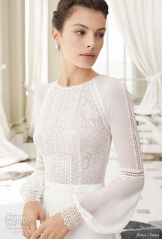 rosa clara 2019 couture bridal long bishop sleeves jewel neck heavily embellished bodice slit skirt elegant modified a line wedding dress covered back chapel train zv -- Rosa Clará Couture 2019 Wedding Dresses Wedding Dress Chiffon, Long Wedding Dresses, Wedding Dress Styles, Bridal Dresses, Wedding Gowns, Couture Dresses, Dress Lace, Lace Bridal, Long Sleeve Wedding
