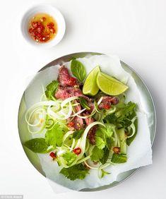 5:2 Beef with Papaya salad, Serves 1 (221 cal) DRESSING 1 crushed garlic clove, ½ red chilli, 1 tsp sugar, 1 tbsp Thai fish sauce, 1 tbsp lime juice SALAD ½ green papaya, finely sliced, ¼ cucumber, shredded, 1 spring onion, basil, mint and coriander, 100g sirloin steak, lime