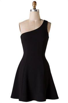Love Affair One Shoulder Cocktail Dress - Black