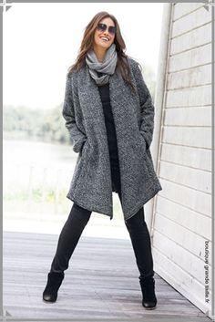 Manteau ample cache rondeurs femme forme cape col chale
