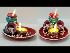 Diwali Decoration Items, Thali Decoration Ideas, Diwali Decorations At Home, Festival Decorations, Ganpati Decoration At Home, Diy Crafts For Home Decor, Creative Crafts, Diwali Craft For Children, Diwali Gift Hampers