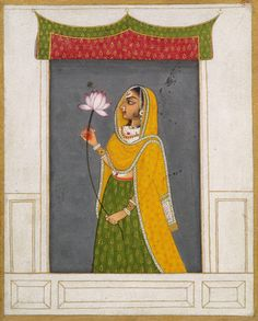 Mewar, Rajput miniature. Lady with a Lotus. Opaque watercolor on paper. 18th C. Rajasthan India. Since the 17th C. Mewar painting was characterized by great and primitive vigour. Primary colours, reds, blues and yellows are used lavishly.