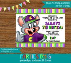 Chuck E Cheese Birthday Party Invitations Personalized