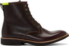 Paul Smith Jeans Dark Burgundy Leather Workman Boots