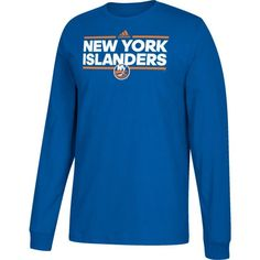 adidas Men's New York Islanders Dassler Royal Long Sleeve Shirt, Size: Medium, Team