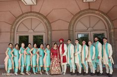 Sensational outdoor themed indian bride and groom with bridesmaids and groomsmen photo shoot https://www.maharaniweddings.com/gallery/photo/149961